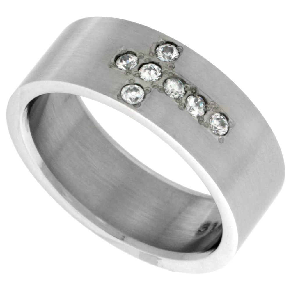 Surgical Stainless Steel 8mm Cubic Zirconia Cross Wedding Band Ring 6-Stones Matte Finish, sizes 8 - 14