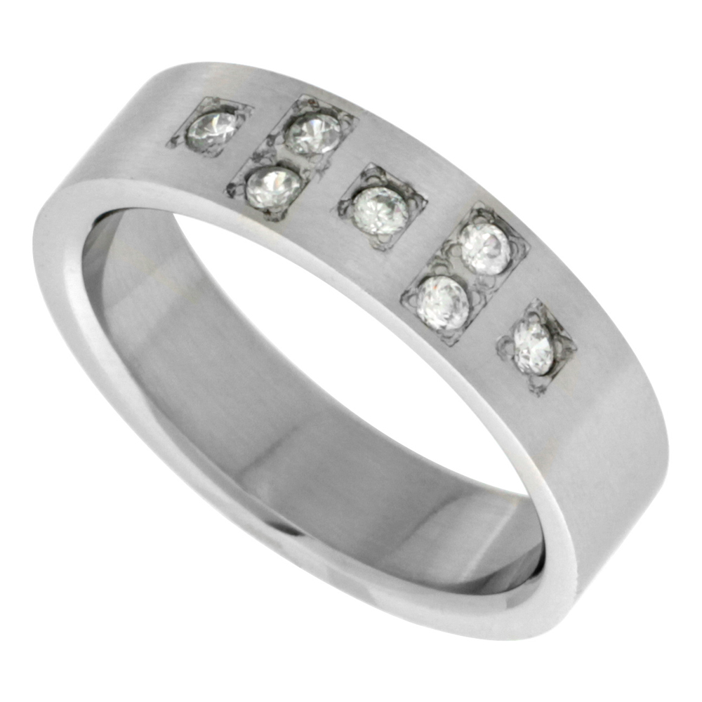 Surgical Stainless Steel 6mm Cubic Zirconia Cross Wedding Band Ring 7-stones, sizes 8 - 14