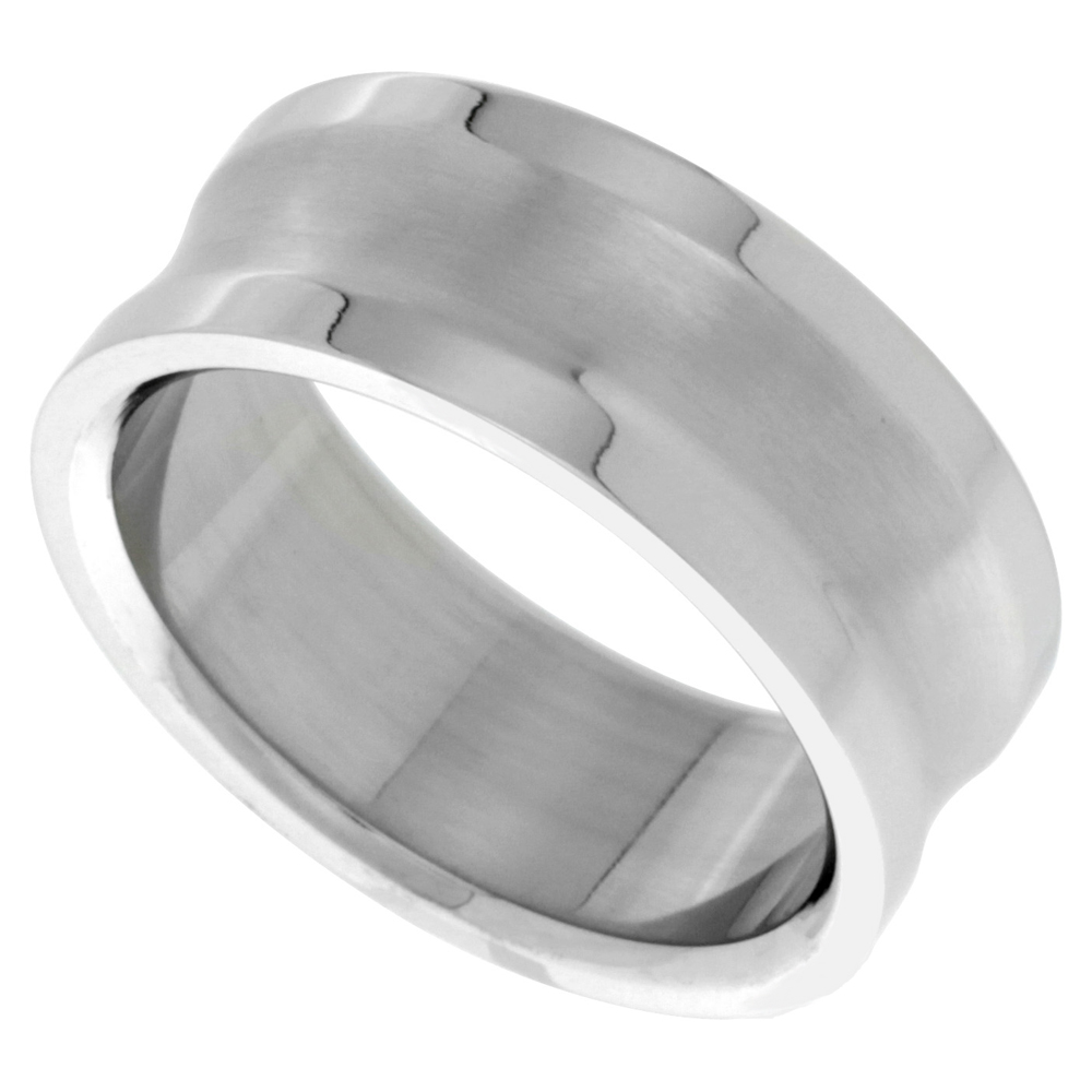 Surgical Stainless Steel 9mm Concaved Center Wedding Band Ring Polished Edges, sizes 8 - 14