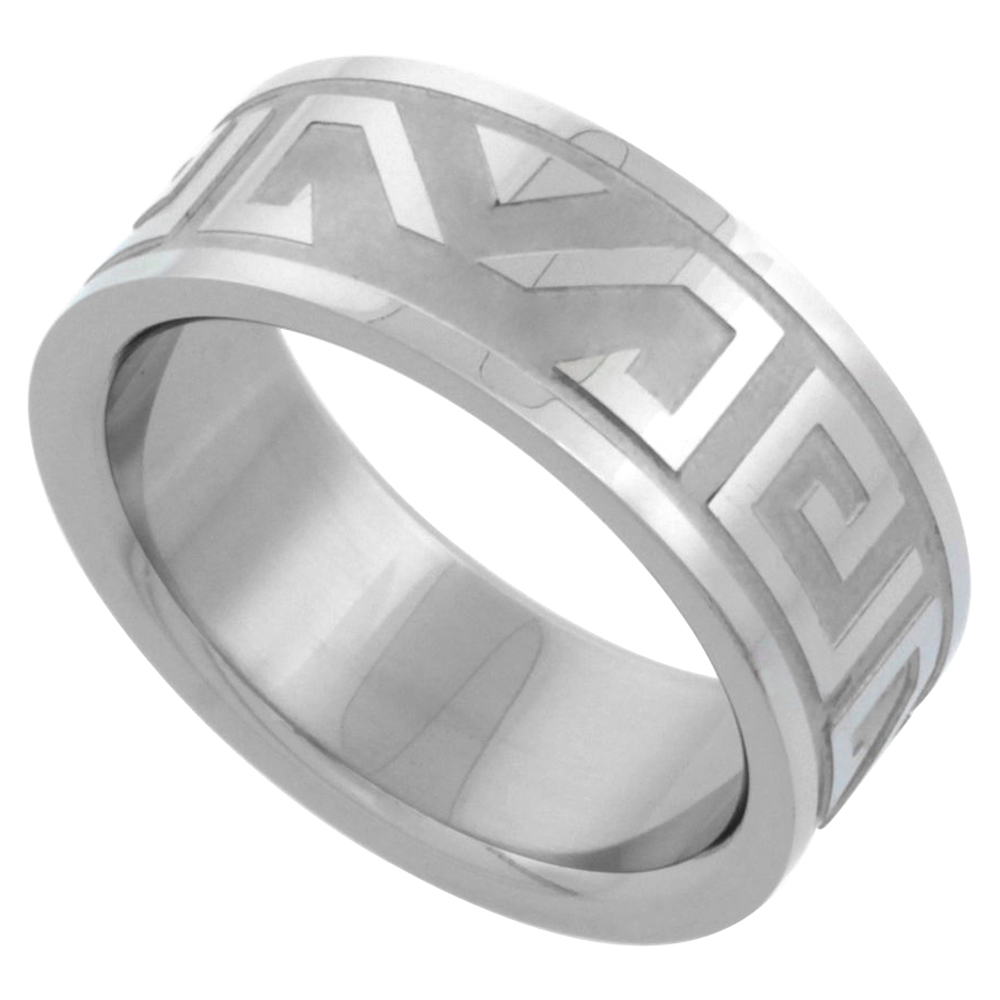 Surgical Stainless Steel 8mm Aztec Wedding Band Ring Etched Design, sizes 7 - 14