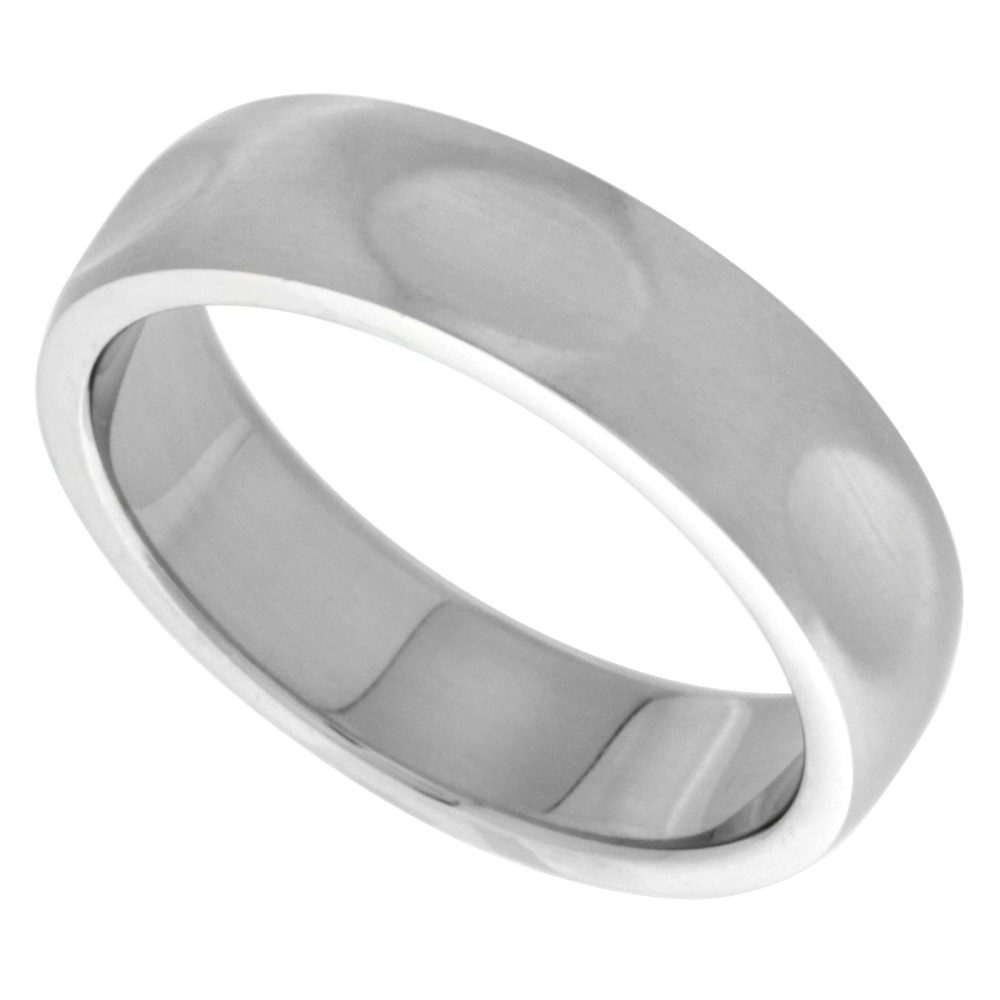 Surgical Stainless Steel 6mm Dabbed Surface Wedding Band Ring comfort-Fit Domed, sizes 8 - 14
