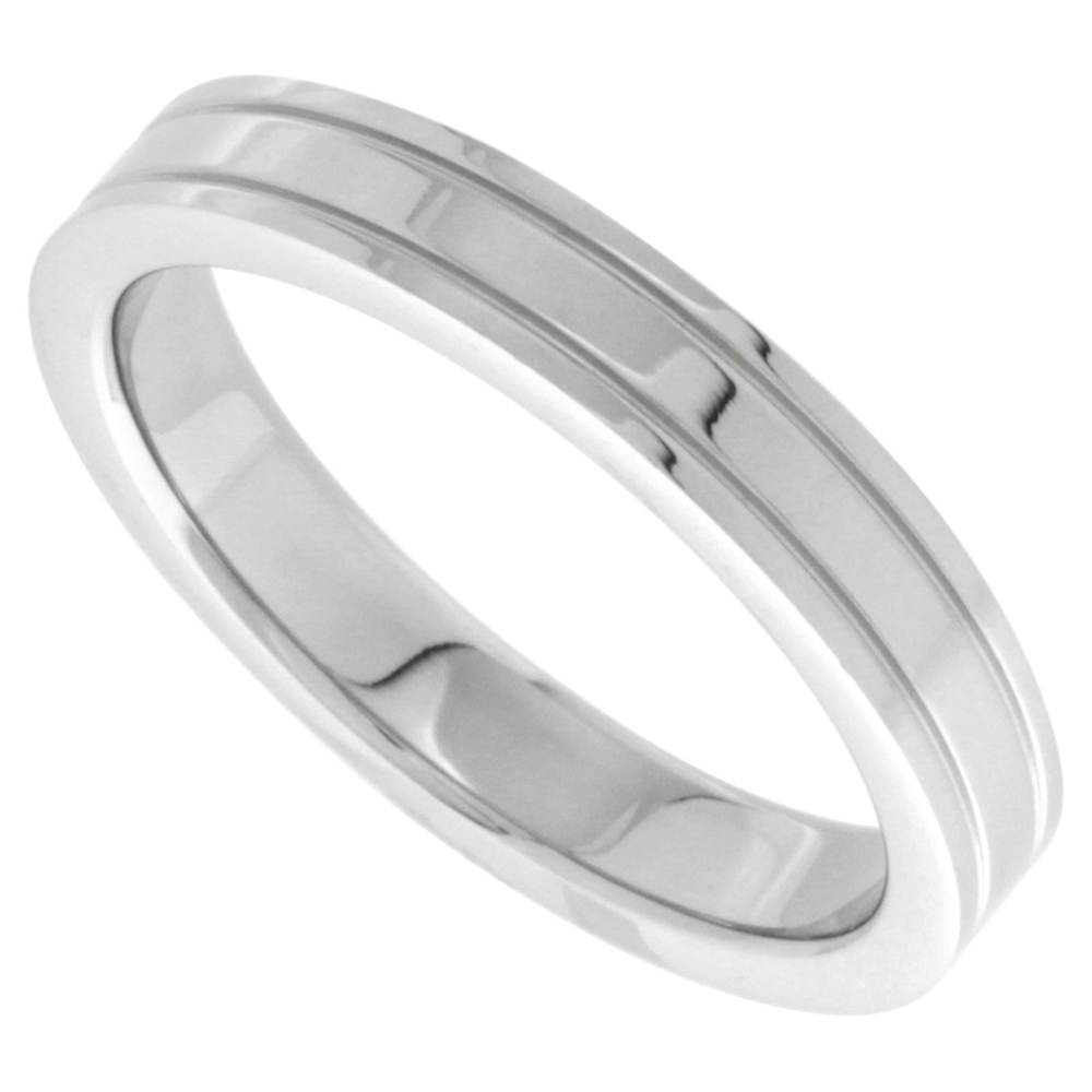 Surgical Stainless Steel 4mm Wedding Band Thumb Ring 2 Grooves High Polish sizes 8 - 14