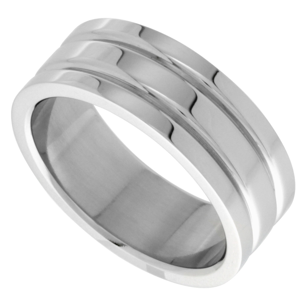 Surgical Stainless Steel 8mm Wedding Band Ring 2 Grooves High Polish, sizes 8 - 14