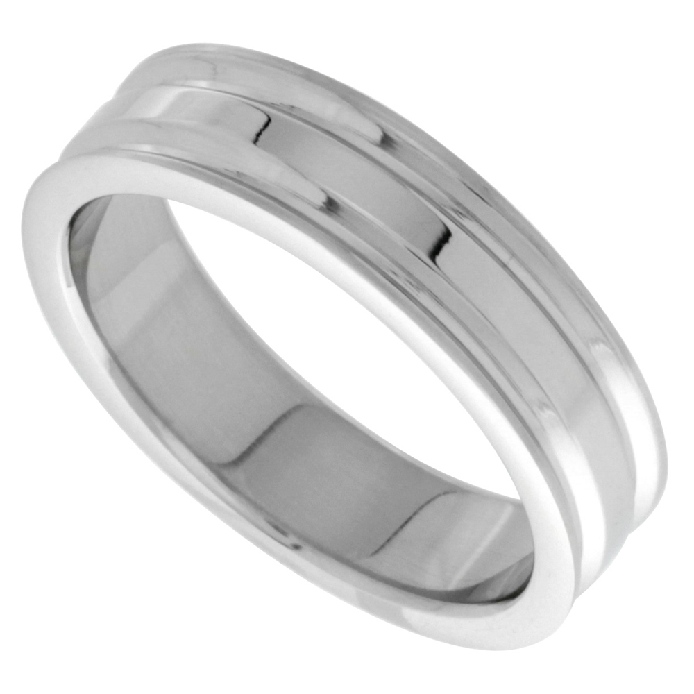 Stainless Steel 6mm Wedding Band Ring 2 Grooves High Polish, sizes 7 - 14