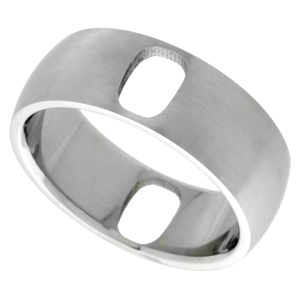Surgical Stainless Steel Domed 8mm Wedding Band Ring 2 Oval Cut-outs, sizes 8 - 14