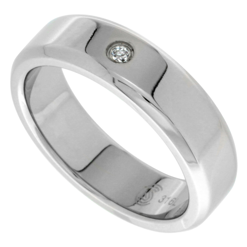 Surgical Stainless Steel 6mm CZ Wedding Band Ring Beveled Edges Polished Finish, sizes 8 - 14