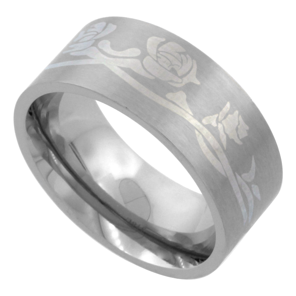 Surgical Stainless Steel 9mm Wedding Band Ring Engraved Roses Matte Finish Comfort-Fit sizes 7 - 14