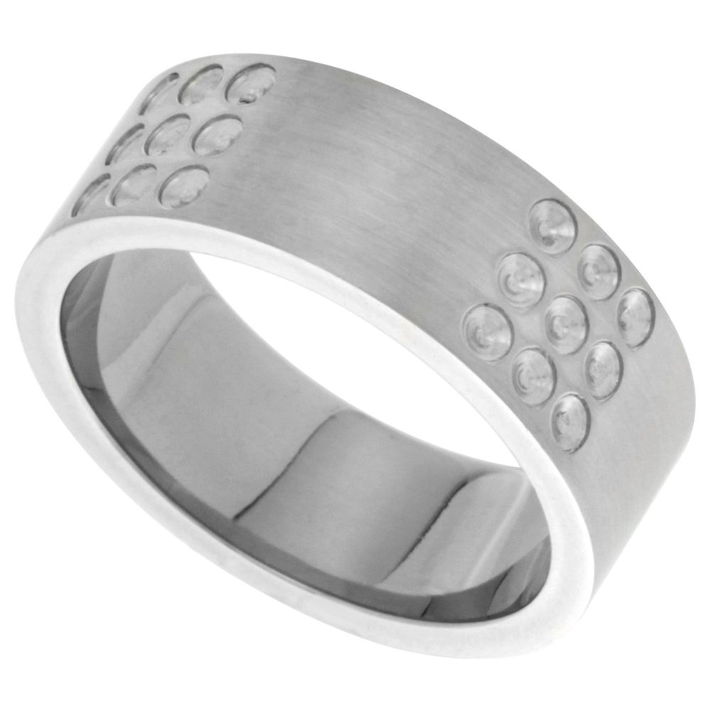 Stainless Steel 8mm Wedding Band Ring Dotted Design Matte Finish, sizes 8 - 13