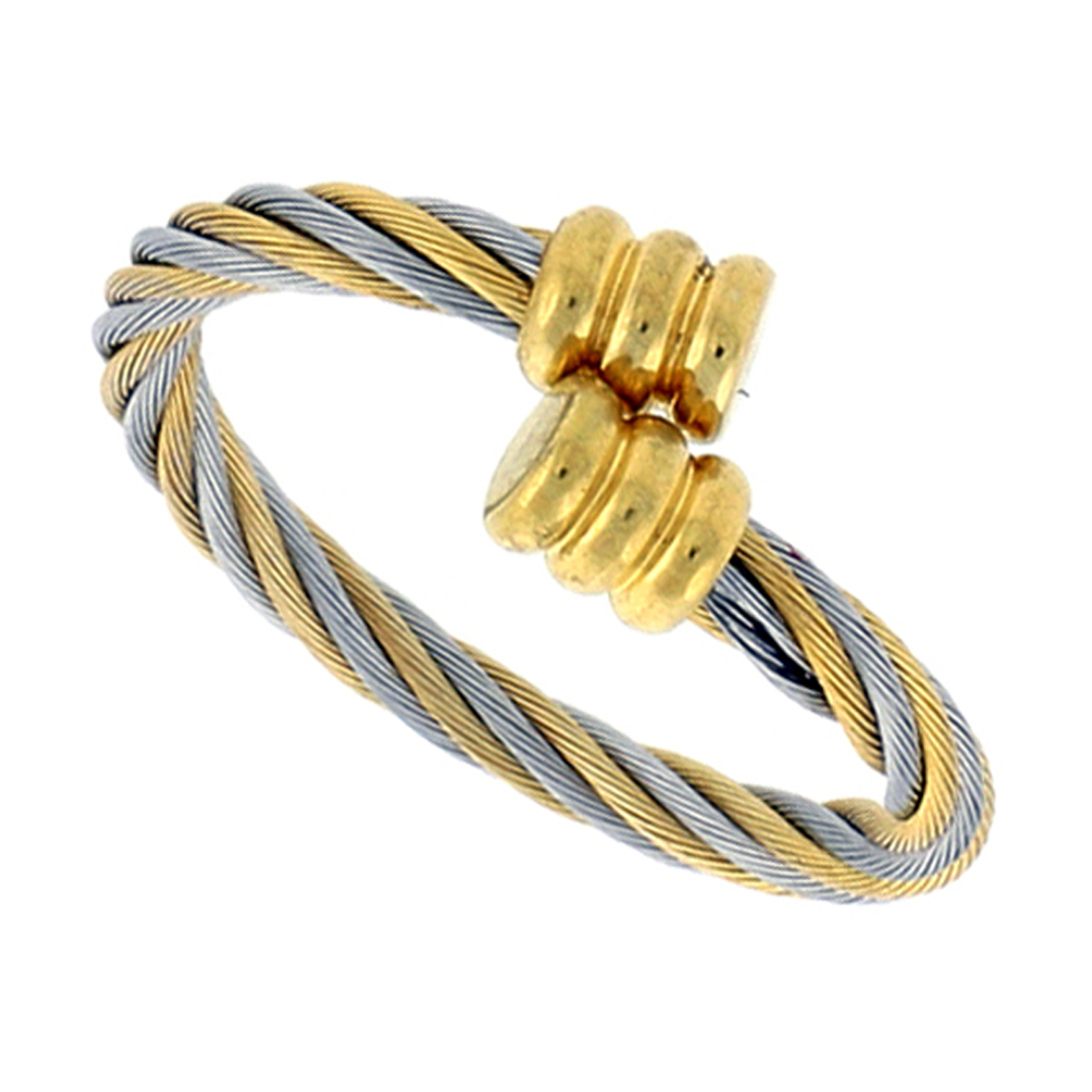 Surgical Stainless Steel Cable Ring 2.5 mm 2-tone Gold Fits sizes 8 - 10