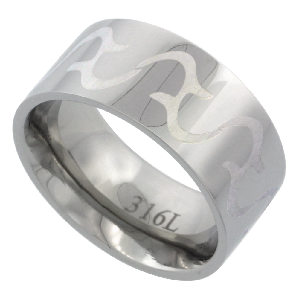 Surgical Stainless Steel 10mm Tribal Design Ring Wedding Band Comfort-Fit, sizes 7 - 14