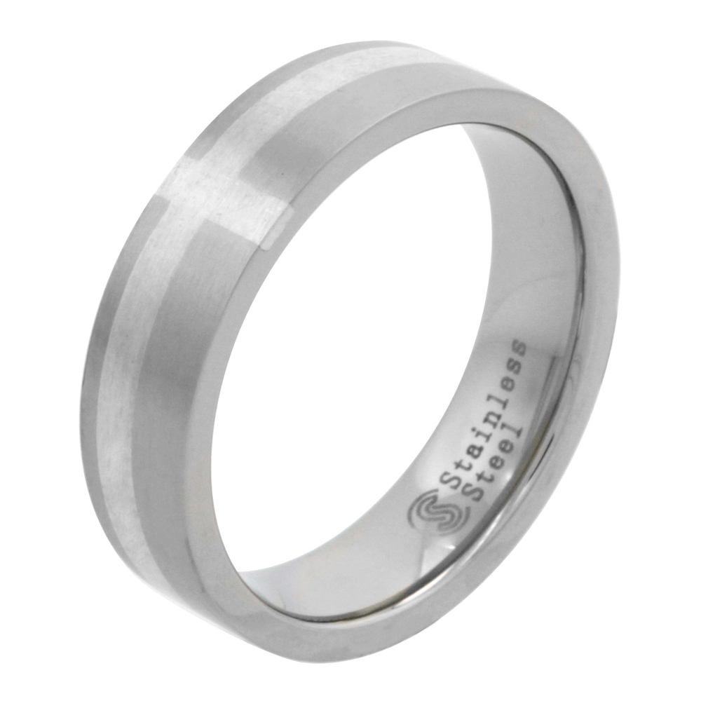 Surgical Stainless Steel 6mm Sterling Silver Cross Inlay Wedding Band Ring Matte Finish, sizes 7 - 14