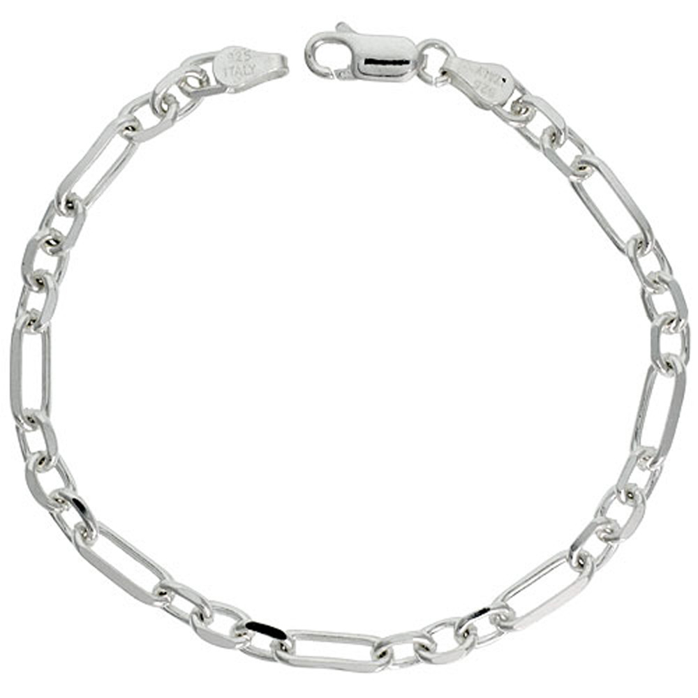 Sterling Silver Figaro Cable Chain Necklaces & Bracelets 5mm Beveled Edges Nickel Free Italy, Sizes 7 - 30 inch
