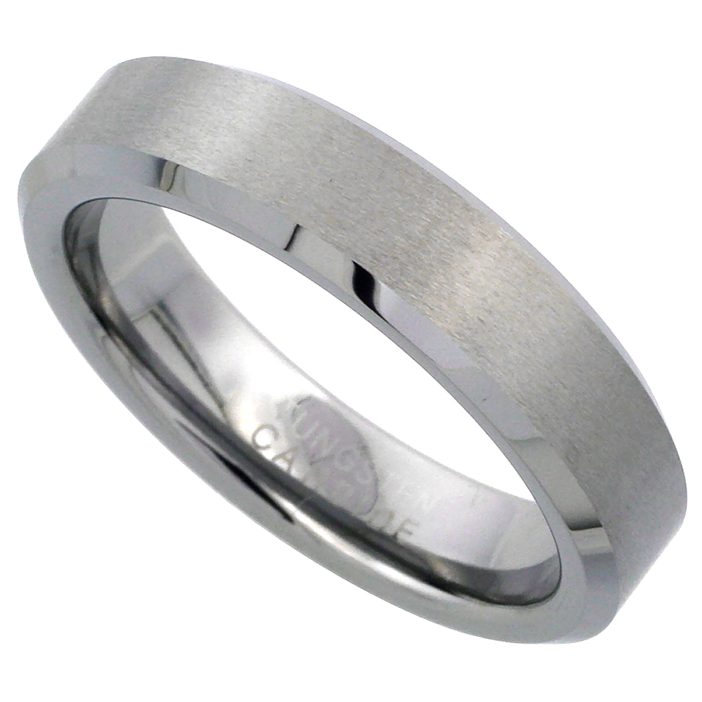 5mm Tungsten 900 Wedding Ring Beveled Edges Satin Finished Comfort fit, sizes 6 to 10