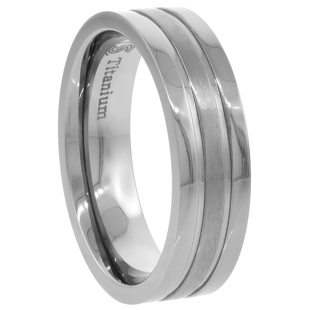 Titanium 6mm Wedding Band Ring Brushed Stripe Center Flat Comfort Fit, sizes 7 - 14