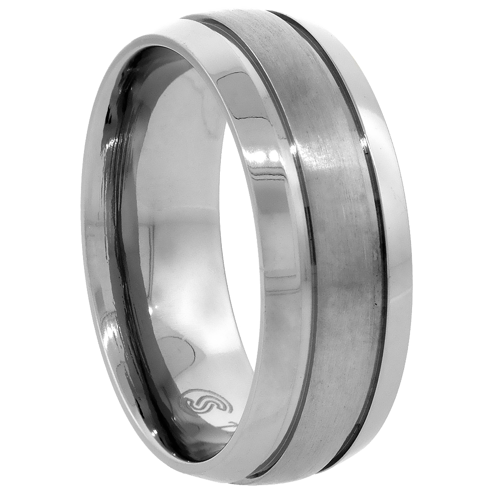 6mm 8mm Striped Titanium Rings for Men Women Brushed Center Beveled Edges Comfort Fit, sizes 7 - 14