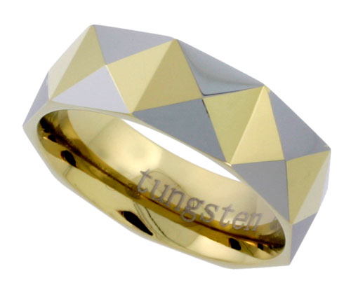 8mm Gold Tungsten Ring Faceted Dome Wedding Band Pyramid Pattern, sizes 7 to 14