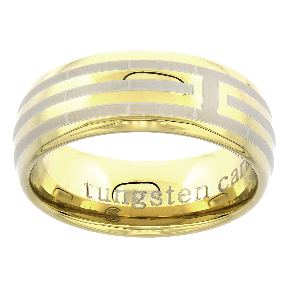 8mm Gold Tungsten Ring Dome Wedding Band for Him & Her Etched Stripes, sizes 7 to 14