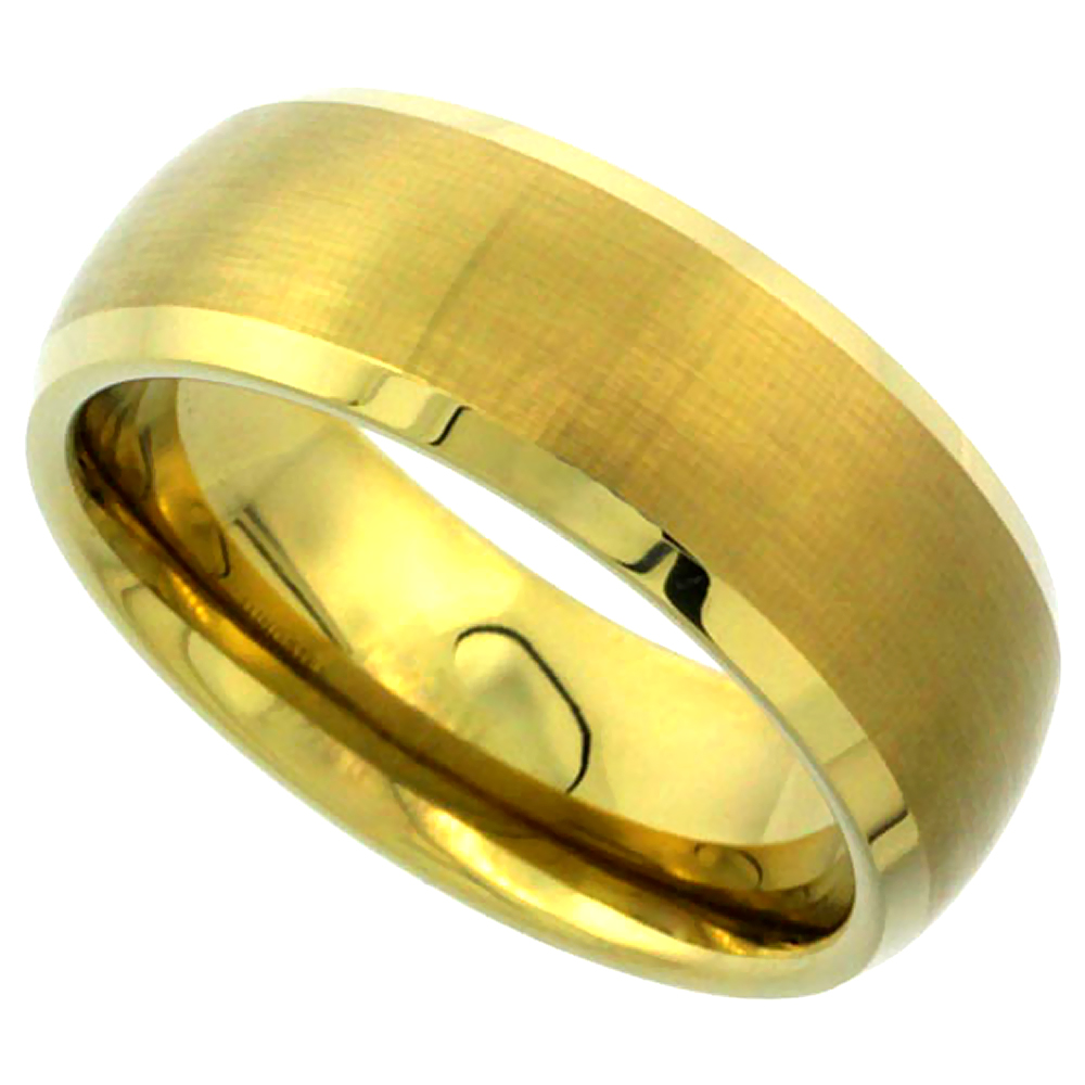 8mm Gold Tungsten Wedding Band Dome Brushed Finish Beveled Edge Comfort fit, sizes 9 to 13.5