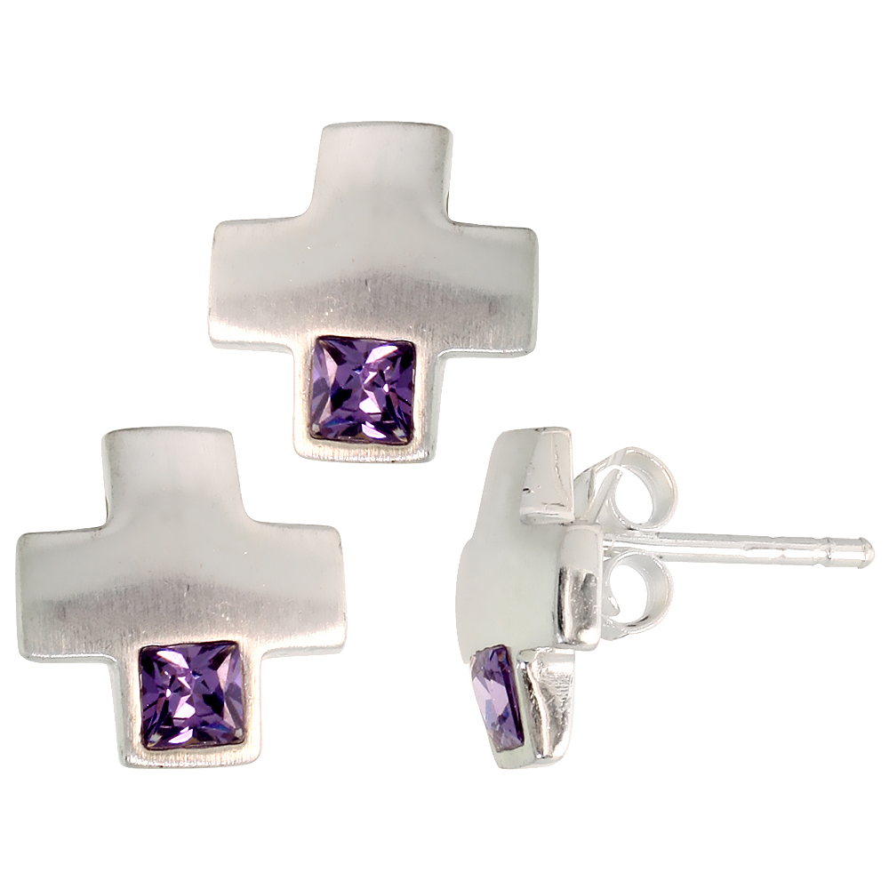 Sterling Silver Matte-finish Greek Cross Earrings (10mm tall) & Pendant Slide (10mm tall) Set, w/ Princess Cut Amethyst-colored CZ Stones