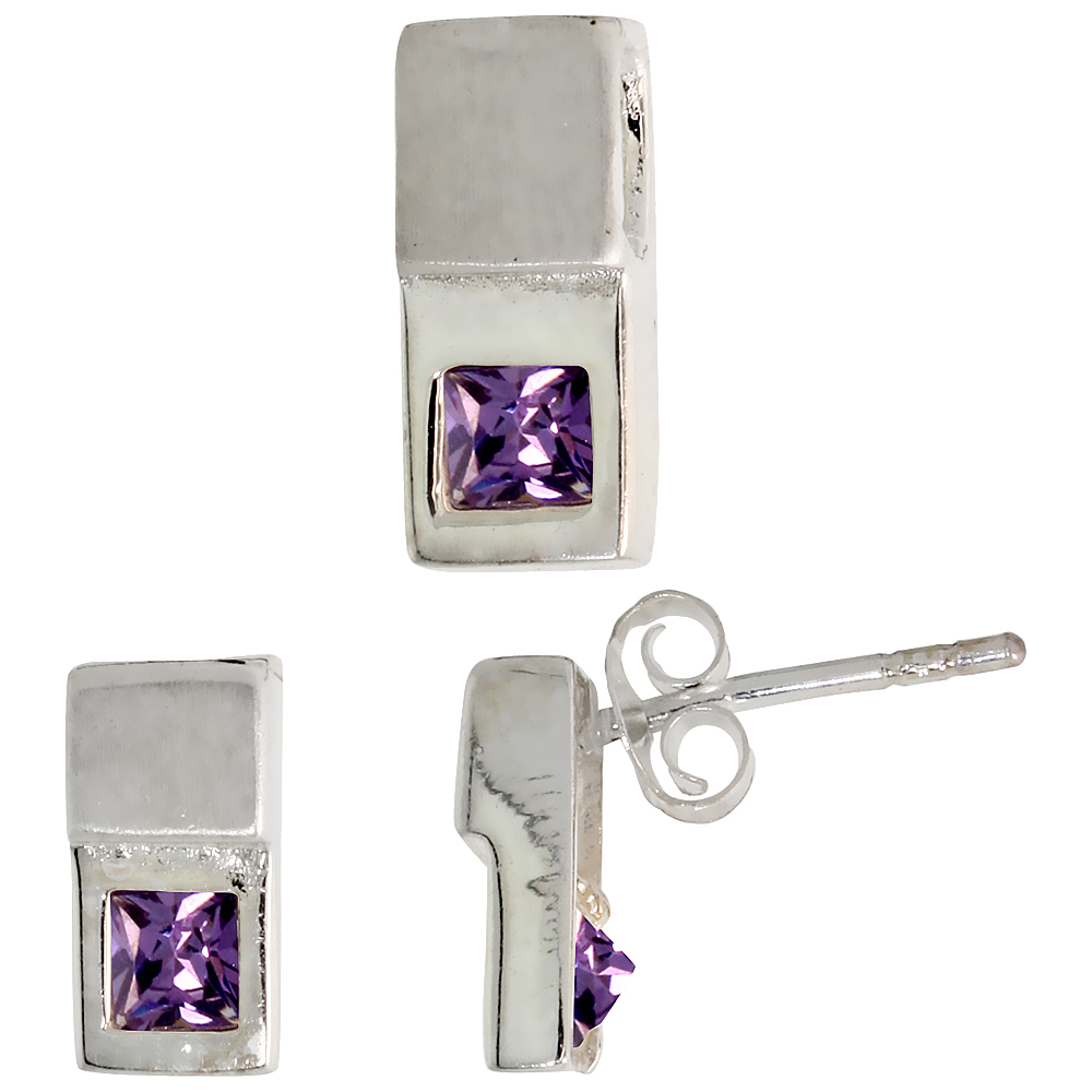 Sterling Silver Matte-finish Fancy Earrings (10mm tall) & Pendant Slide (12mm tall) Set, w/ Princess Cut Amethyst-colored CZ Stones