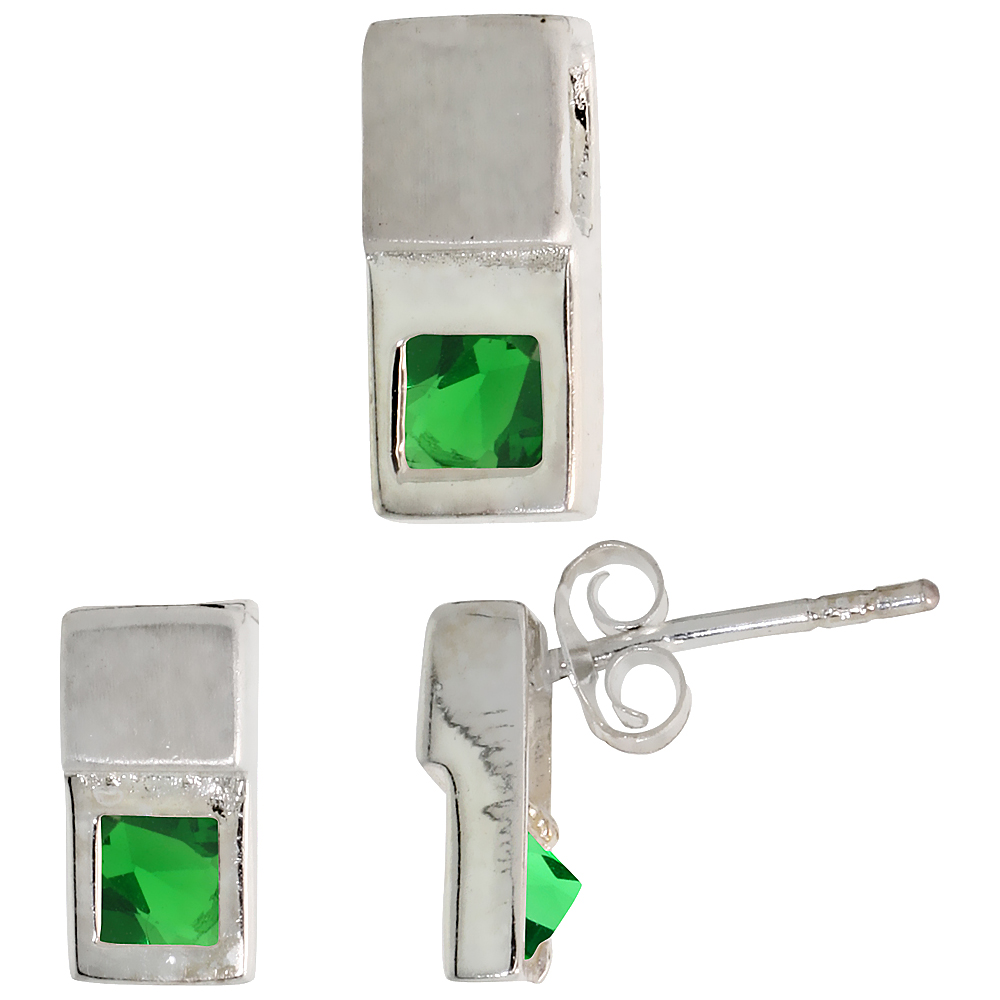 Sterling Silver Matte-finish Fancy Earrings (10mm tall) & Pendant Slide (12mm tall) Set, w/ Princess Cut Emerald-colored CZ Stones