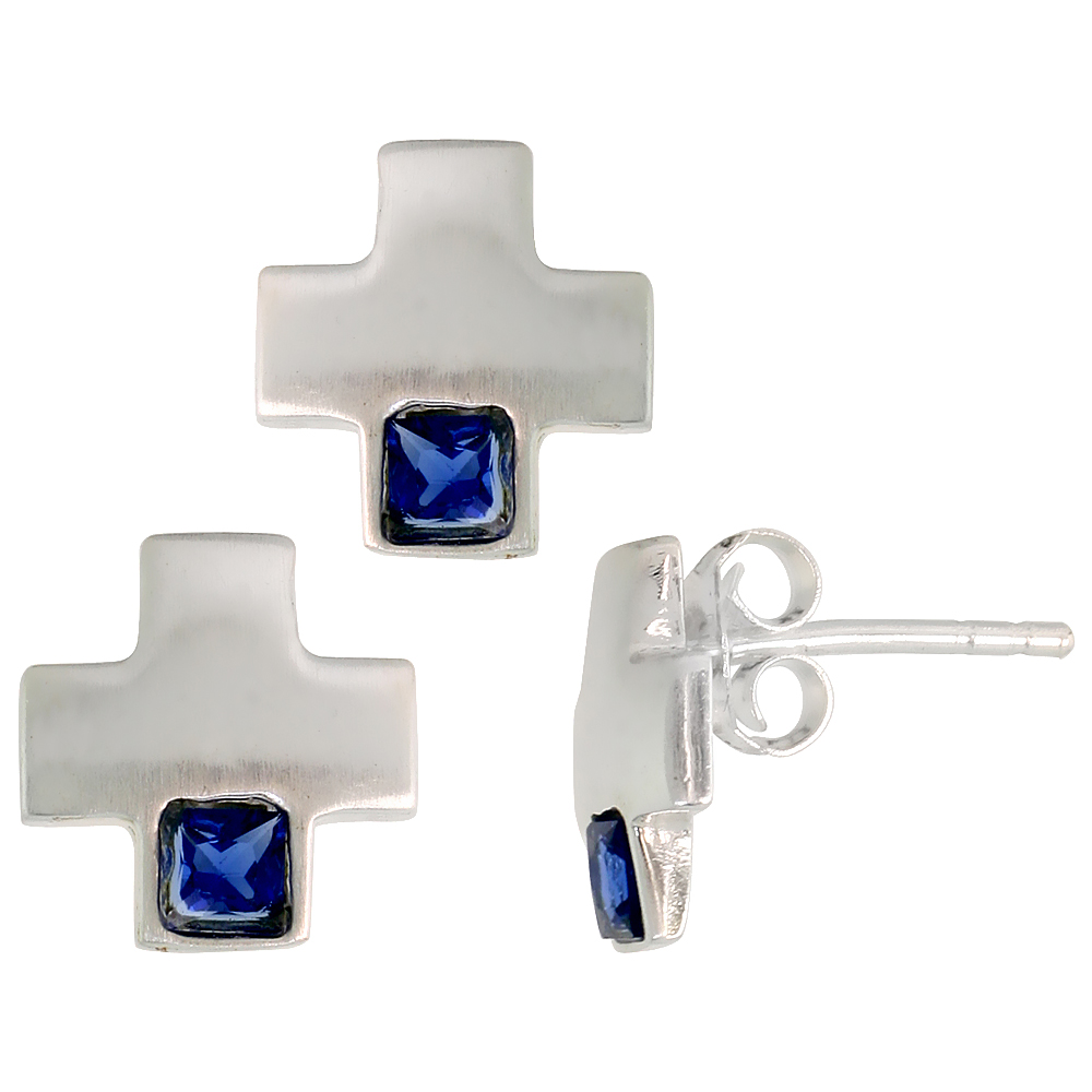 Sterling Silver Matte-finish Greek Cross Earrings (10mm tall) & Pendant Slide (10mm tall) Set, w/ Princess Cut Blue Sapphire-colored CZ Stones