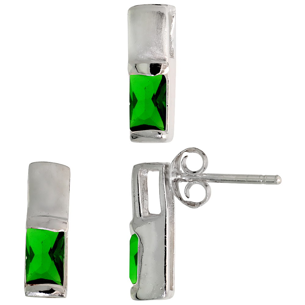 Sterling Silver Matte-finish Rectangular Earrings (13mm tall) & Pendant Slide (13mm tall) Set, w/ Emerald Cut Emerald-colored CZ Stones