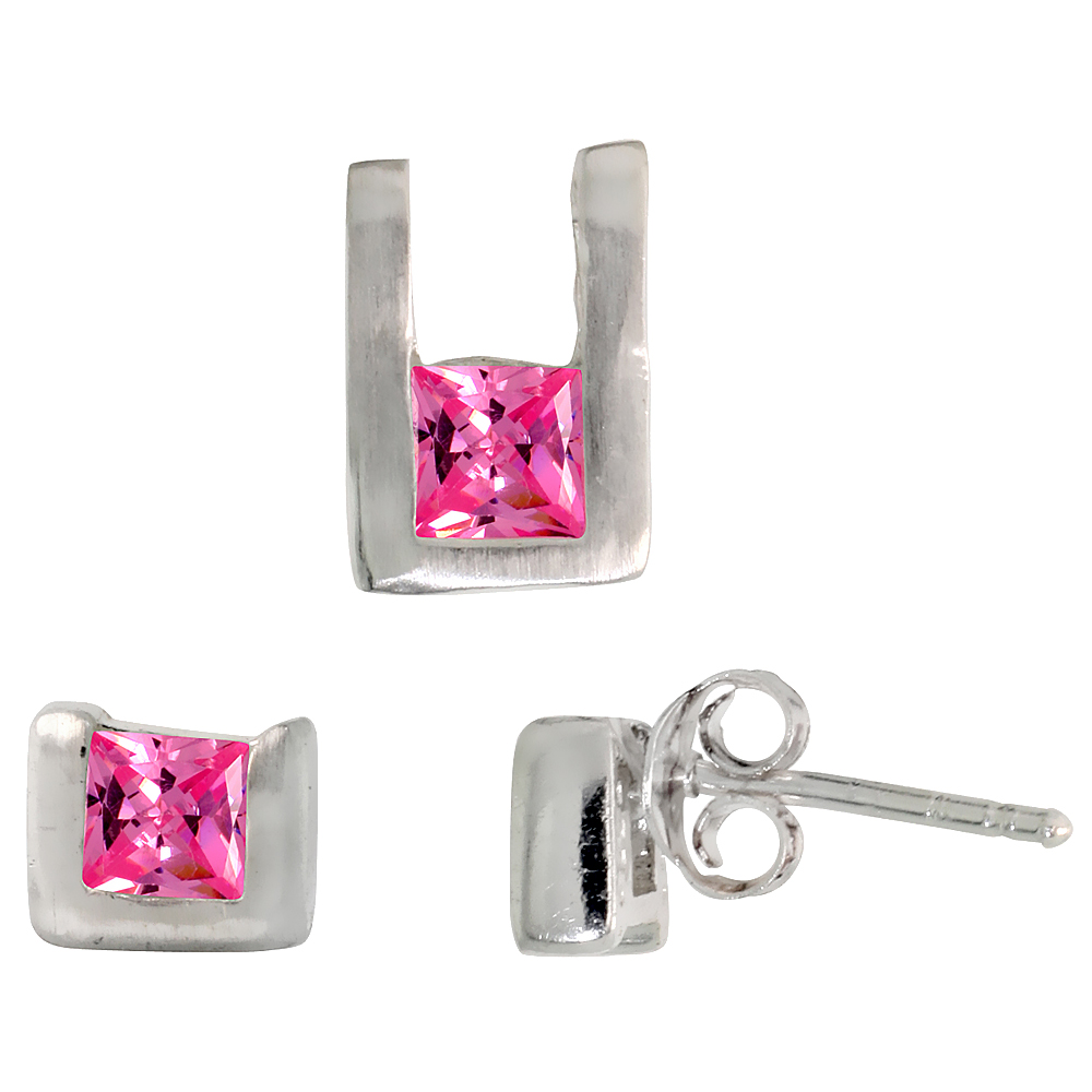 Sterling Silver Matte-finish U-shaped Stud Earrings (6mm tall) & Pendant (10mm tall) Set, w/ Princess Cut Pink Tourmaline-colored CZ Stones