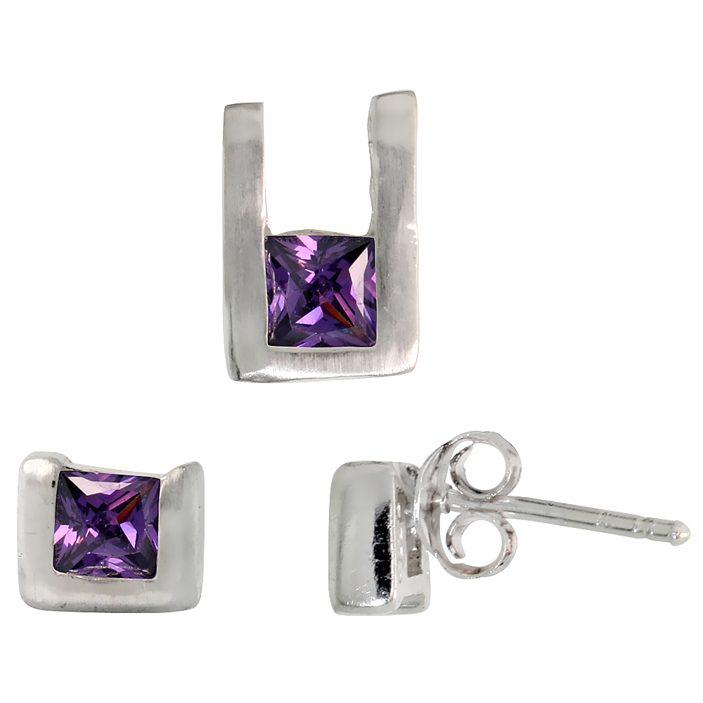 Sterling Silver Matte-finish U-shaped Stud Earrings (6mm tall) & Pendant (10mm tall) Set, w/ Princess Cut Amethyst-colored CZ Stones