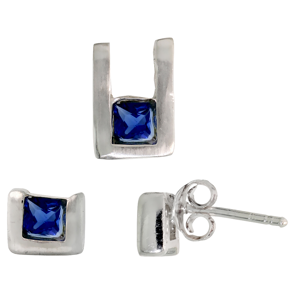 Sterling Silver Matte-finish U-shaped Stud Earrings (6mm tall) & Pendant (10mm tall) Set, w/ Princess Cut Blue Sapphire-colored CZ Stones