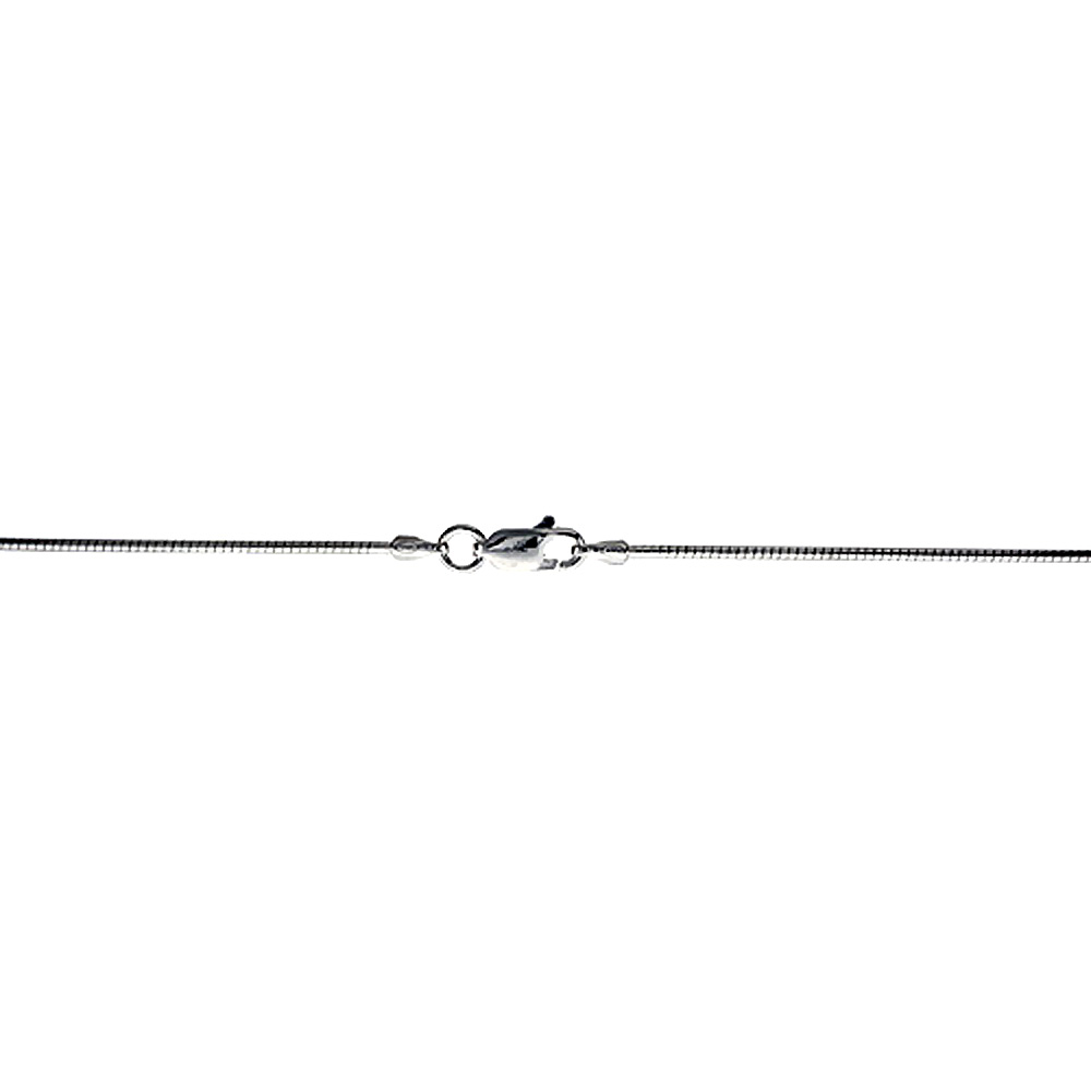 Sterling Silver Hard Wire Round Omega Neck 1.25 mm Choker Nickel Free Italy, sizes 16 - 20 inch