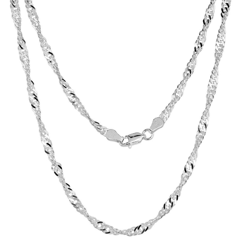 Sterling Silver Singapore Chain Necklaces & Bracelets 3.3mm Nickel Free Italy, sizes 7 - 30 inch