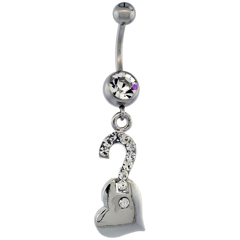 Surgical Steel Question Mark on Heart Belly Button Ring w/ Crystals, 1 1/2 inch (36 mm) tall (Navel Piercing Body Jewelry)