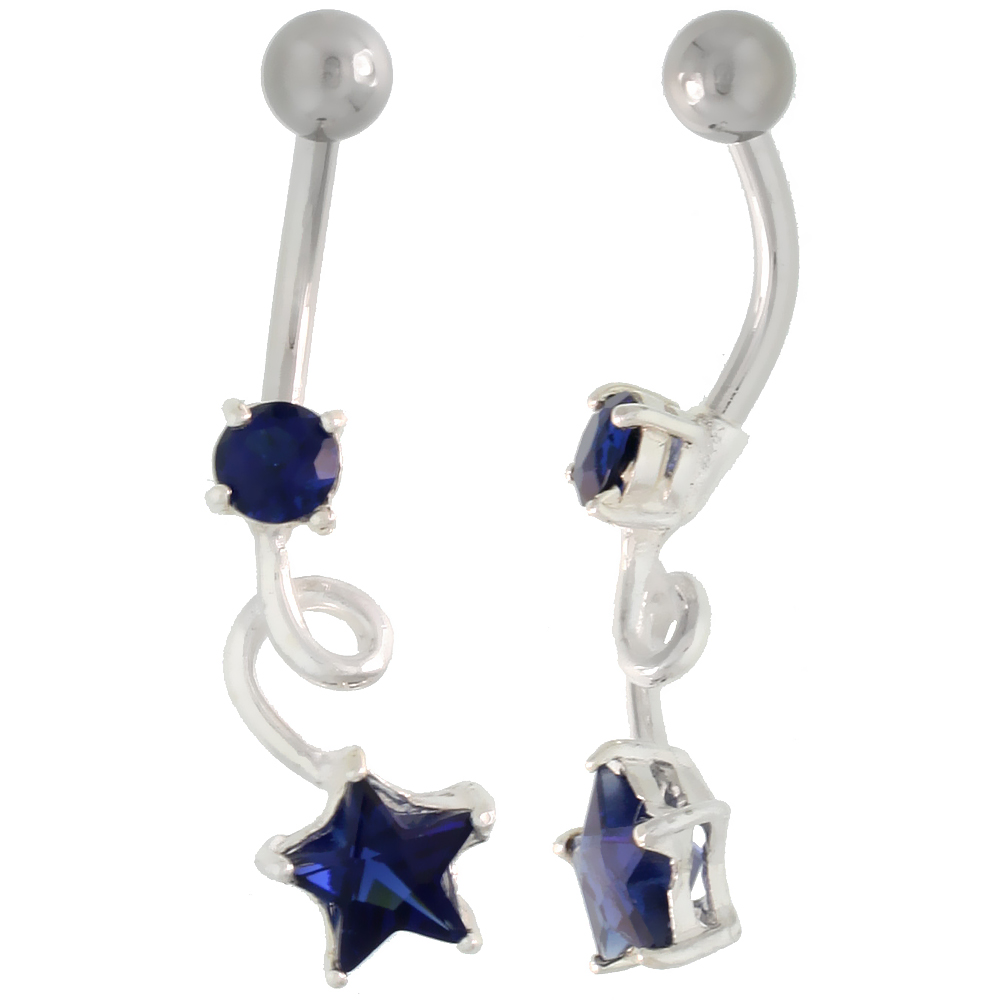 Loop Belly Button Ring with Star Cut Blue Sapphire Cubic Zirconia on Sterling Silver Setting