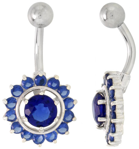 Sunflower Belly Button Ring with Blue Sapphire Cubic Zirconia on Sterling Silver Setting