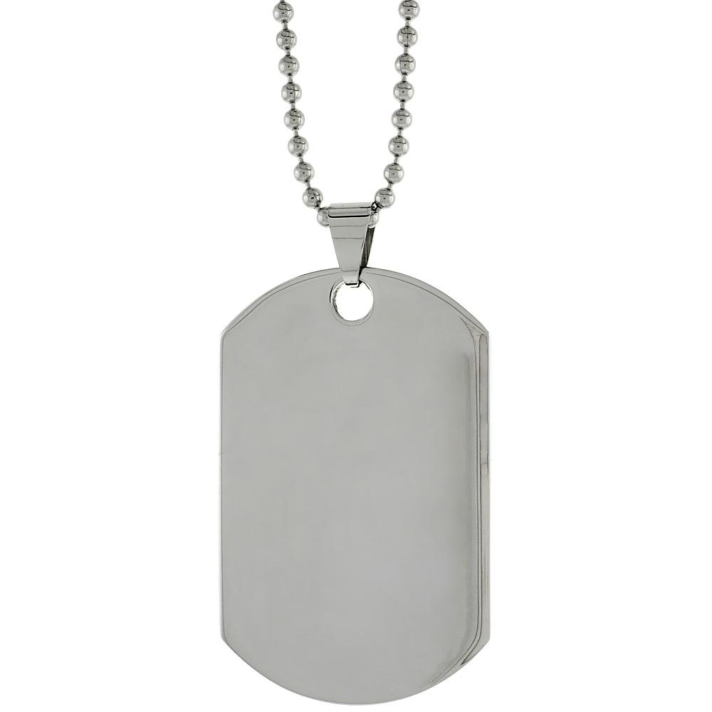 Stainless Steel Dog Tag Full Size Thick Plate 2 x 1 1/4 in. comes with 30 in. 2 mm Ball Chain
