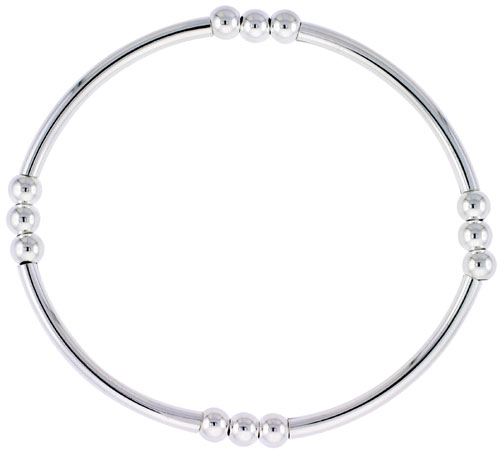 Sterling Silver Stretch Bangle, 4 Section Triple Beads