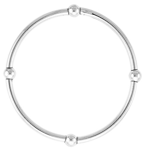 Kids Size Sterling Silver Stretch Bangle 4 Section Polished.