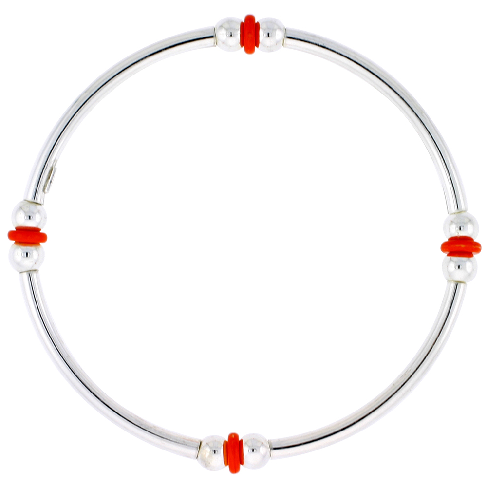Sterling Silver Stretch Bangle, 4 Section Double Ball and Flat Orange Bead