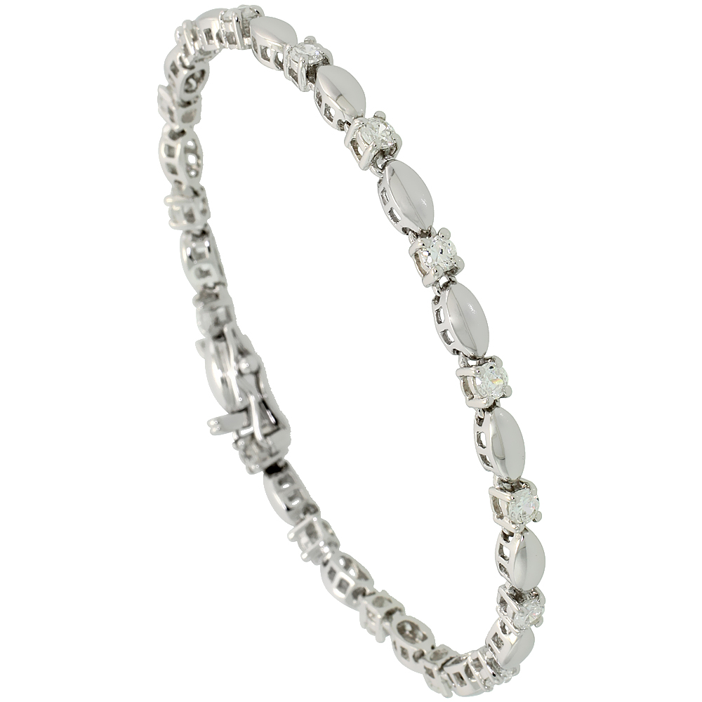 Sterling Silver 1.5 ct. size Marquise Link Cubic Zirconia Bracelet, with alternating Silver & Stone, 1/8 inch wide