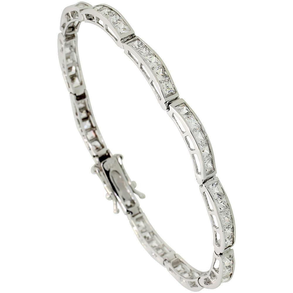 Sterling Silver 9 Carat 5-Stone Channel Set CZ Tennis Bracelet, 5/32 inch wide