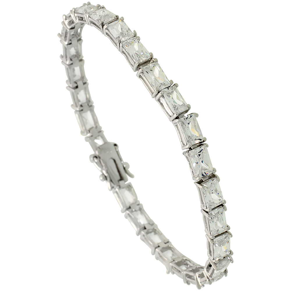 Sterling Silver 13.5 ct. size Emerald Cut CZ Tennis Bracelet, 3/16 inch wide