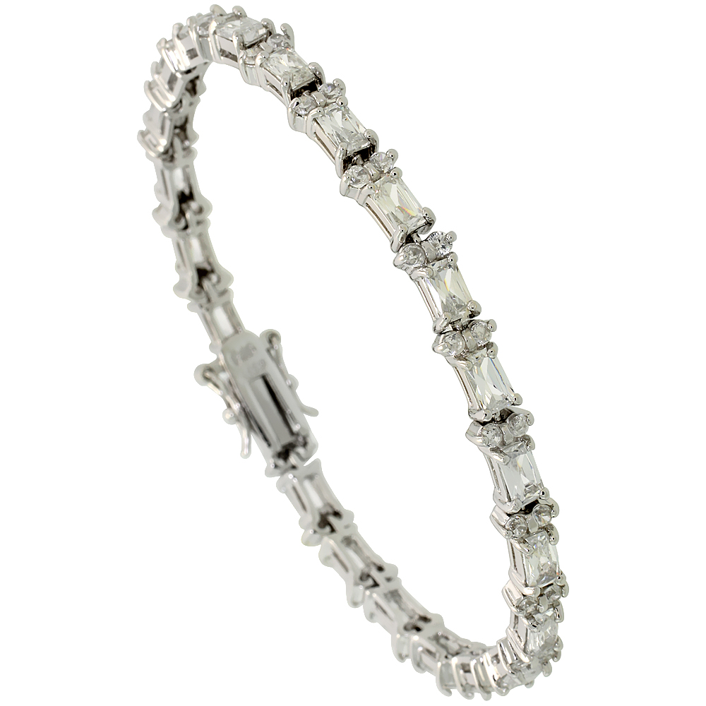 Sterling Silver 6.25 ct. size Emerald Cut CZ Tennis Bracelet with alternating Round Stones, 7/32 inch wide
