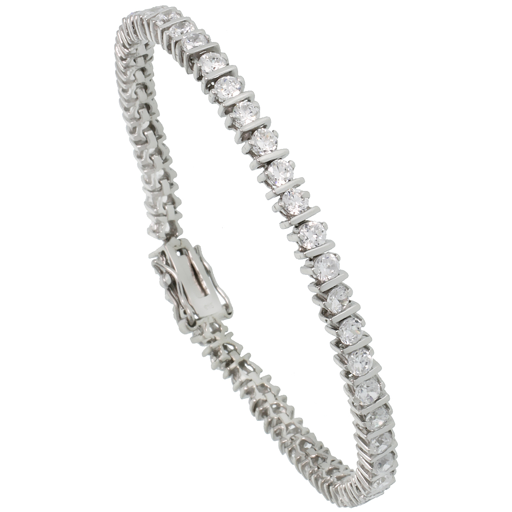 Sterling Silver 4.75 ct. size CZ Tennis Bracelet with Bars, 3/16 inch wide