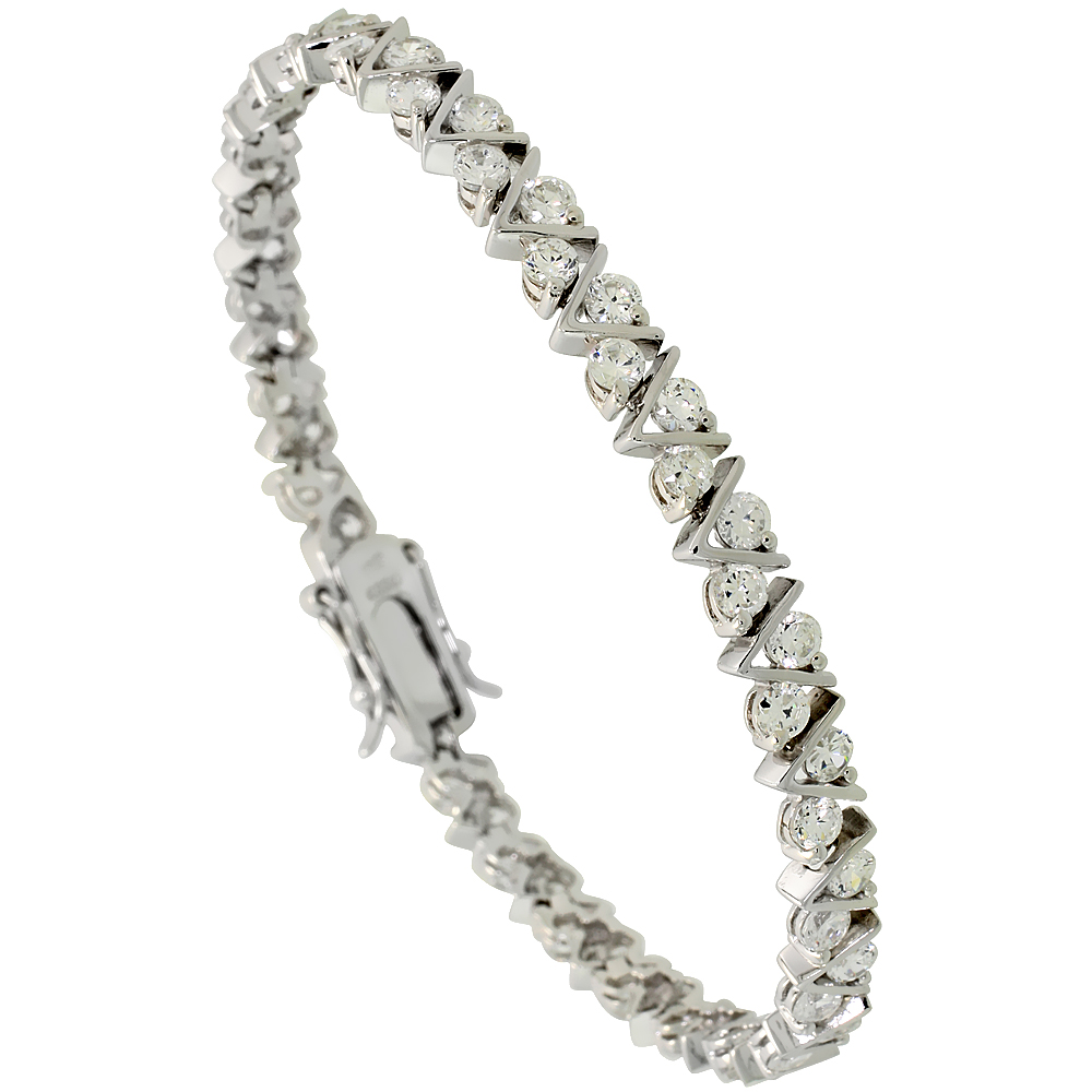 Sterling Silver 5.25 ct. size V-Link Cubic Zirconia Tennis Bracelet, 3/16 inch wide