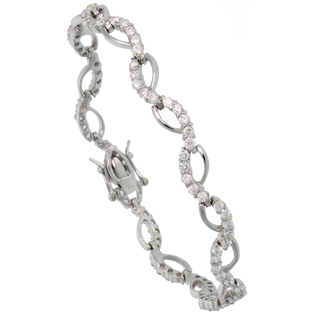 Sterling Silver 1.25 ct. size Wave CZ Tennis Bracelet, 1/4 inch wide