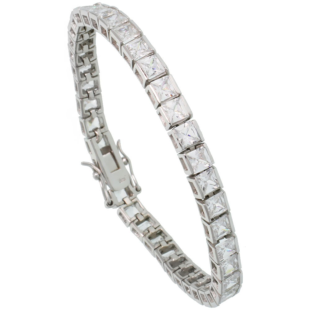Sterling Silver 15.3 ct. size Princess Cut CZ Tennis Bracelet, 5/32 inch wide