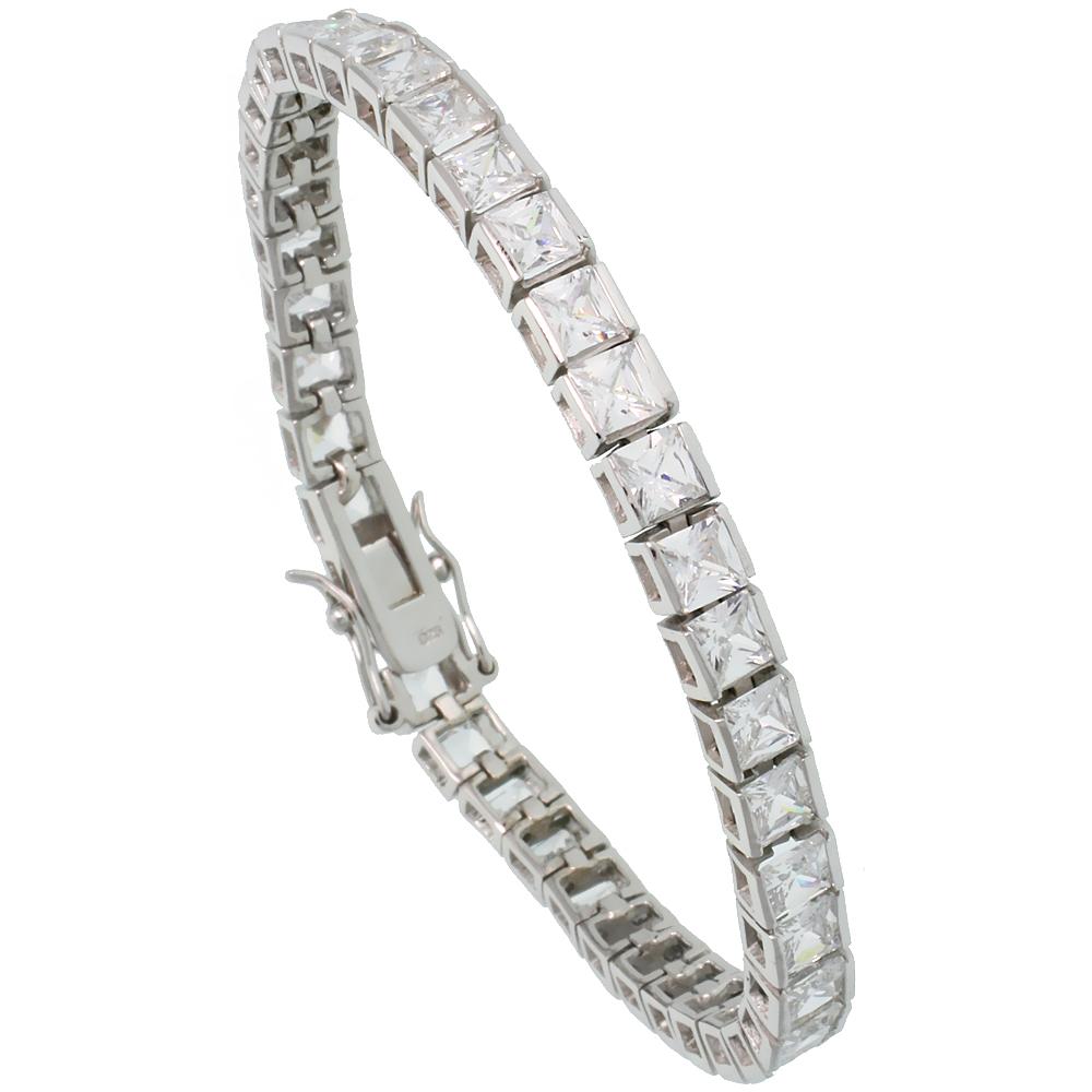 Sterling Silver 15.3 ct. size Princess Cut CZ Tennis Bracelet, 5/32 inch wide