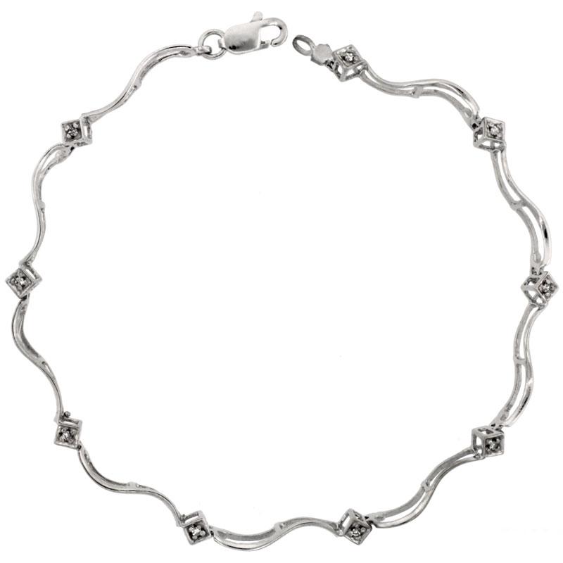 10k White Gold Swirl Diamond Tennis Bracelet 0.05 ct Diamonds, 5/32 inch wide