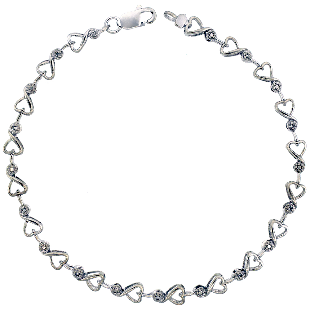 10k White Gold Cut Out Heart Diamond Tennis Bracelet 0.05 ct Diamonds, 5/32 inch wide